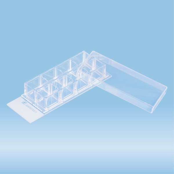 x-well cell culture chamber, 8-well, on glass slide, removable frame