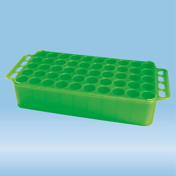 S-Monovette® rack D17, Ø opening: 17 mm, 10 x 5, green, with handle