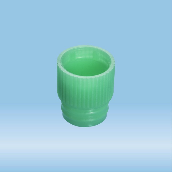 Push cap, green, suitable for tubes Ø 13 mm
