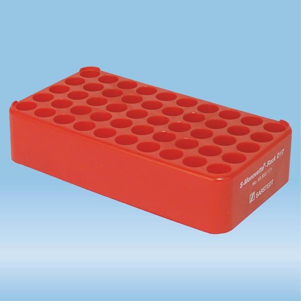 S-Monovette® rack D17, Ø opening: 17 mm, 10 x 5, red