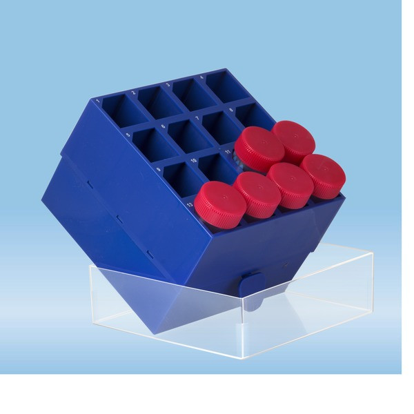Storage box, slip-on lid, PP, format: 4 x 4, for 16 collection tubes