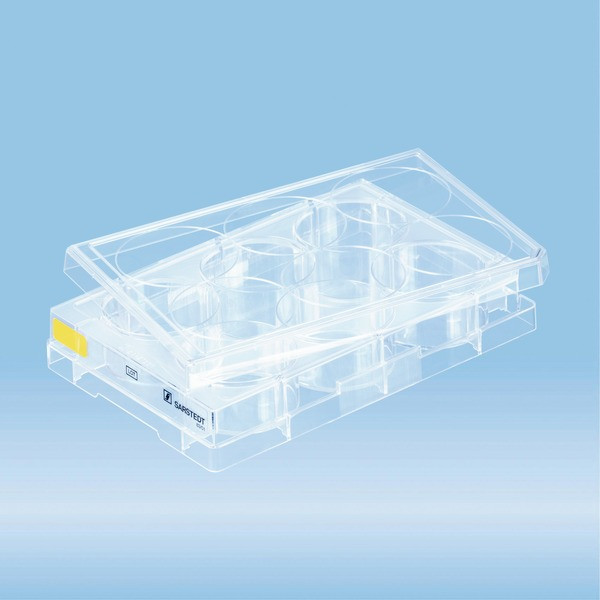 Cell culture plate, 6 well, surface: Cell+, flat base