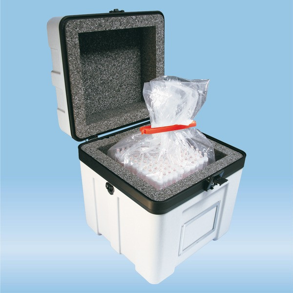 Transport case B 17, with lateral rim for block rack