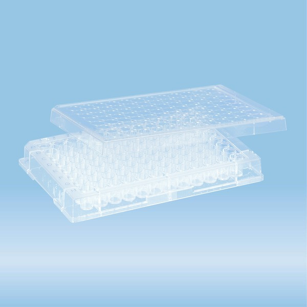 Micro test plate, 96 well, slip-on lid, flat base, PS, transparent