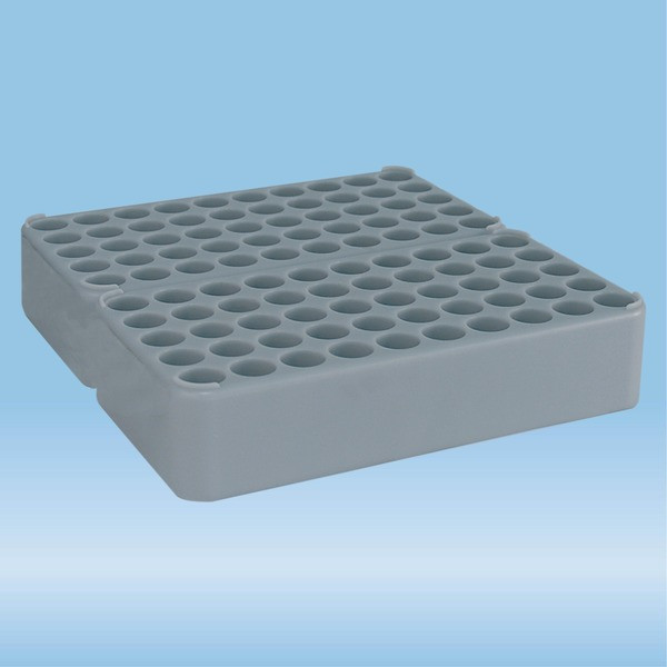 Double block rack D17, Ø opening: 17 mm, 10 x 10, grey, connected lengthwise