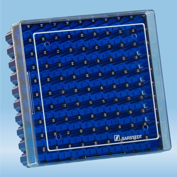 Cryobox, 132 x 132 x 53 mm, format: 10 x 10, for 100 collection tubes