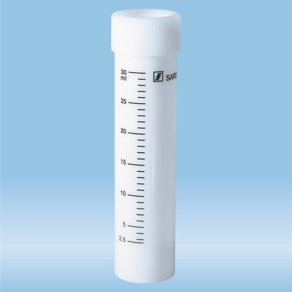 Screw cap tube, 30 ml, (LxØ): 107 x 25 mm, PP, with print