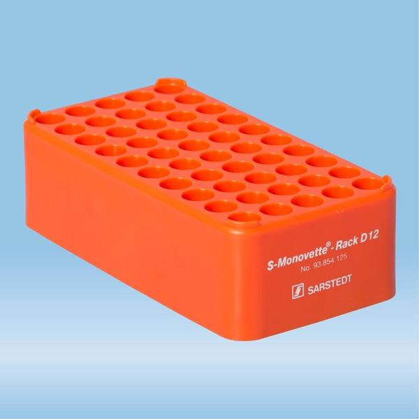 S-Monovette® rack D12, Ø opening: 12 mm, 10 x 5, orange