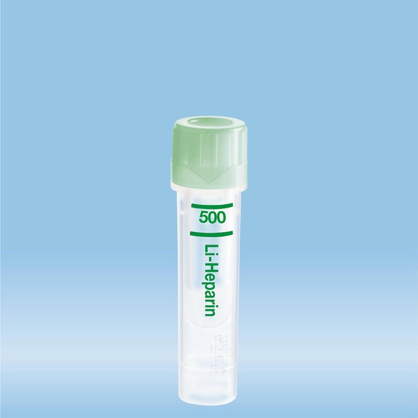 Microvette® 500 Lithium heparin, 500 µl, Cap green, flat base