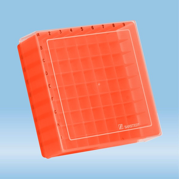 Storage box, slip-on lid, PP, format: 9 x 9, for 81 Collection tubes