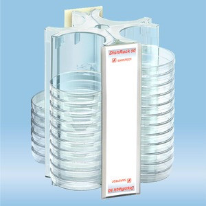 DishRack, height: 240 mm, transparent, for 52 petri dishes with 92mm diameter