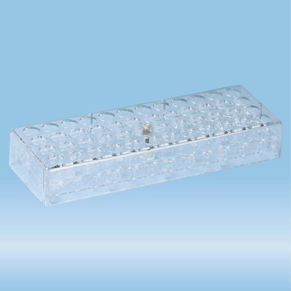 Rack, PC, format: 12 x 4, suitable for tubes, square cuvettes, all S-Monovette diameters
