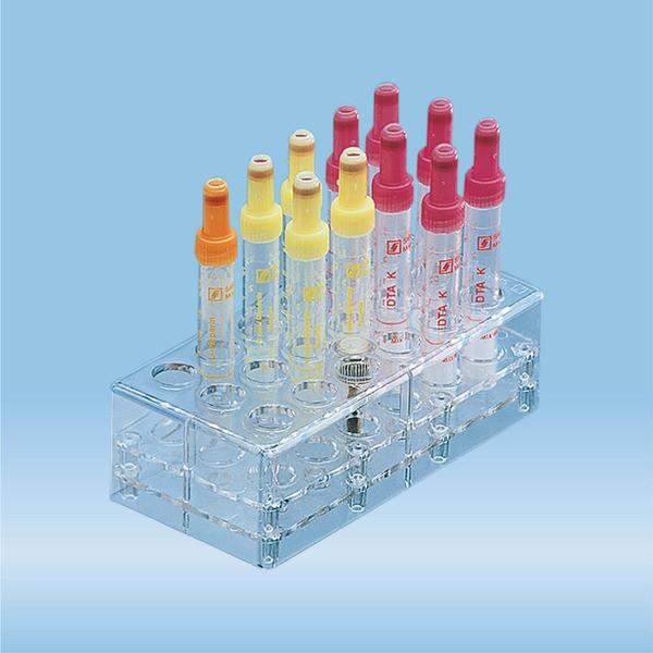 Rack, PC, format: 6 x 3, suitable for tubes, square cuvettes, all S-Monovette diameters