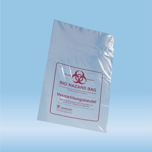 Disposal bags, 7 l, (LxW): 500 x 300 mm, PP, transparent, with print Biohazard