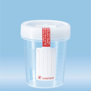 Container with screw cap, 100 ml, (ØxH): 57 x 76 mm, PP, with safety label, transparent