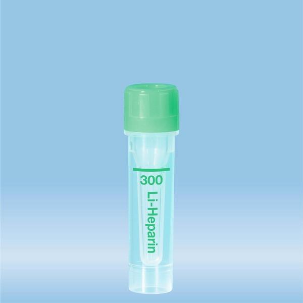 Microvette® 300 Lithium heparin, 300 µl, Cap green, flat base