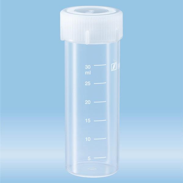 Screw cap tube, 30 ml, (LxØ): 84 x 30 mm, PP, with print