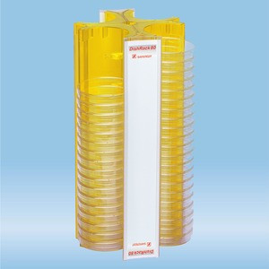 DishRack, height: 370 mm, yellow, for 88 petri dishes with 92mm diameter