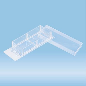 x-well cell culture chamber, 2-well, on glass slide, removable frame