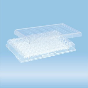 Micro test plate, 96 well, slip-on lid, base shape: conical, PS, transparent