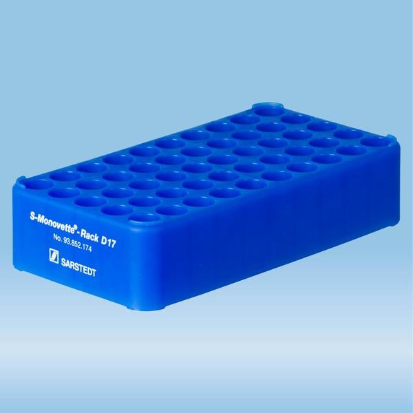 S-Monovette® rack D17, Ø opening: 17 mm, 10 x 5, blue