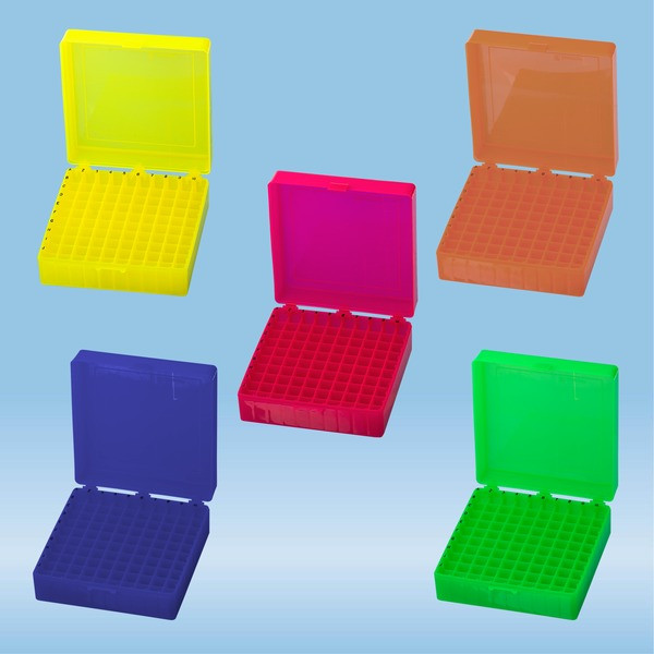 Storage box, hinged lid, PP, format: 10 x 10, for 100 Collection tubes
