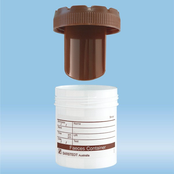 Faeces tube, with blade, Screw cap, (LxØ): 55 x 44 mm, white