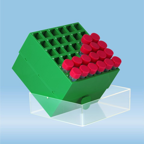 Storage box, slip-on lid, PP, format: 6 x 6, for 36 collection tubes