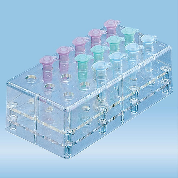 Rack, PC, format: 6 x 3, suitable for micro tubes 2 ml, Microvette®