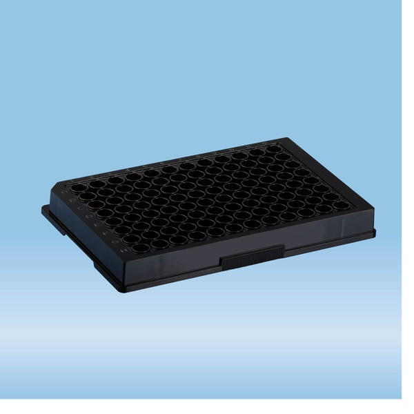 ELISA plate, 96 well, flat base, PS, black, High Binding