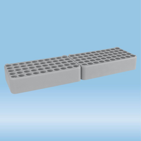 Double block rack D17, Ø opening: 17 mm, 10 x 10, grey, connected at head end