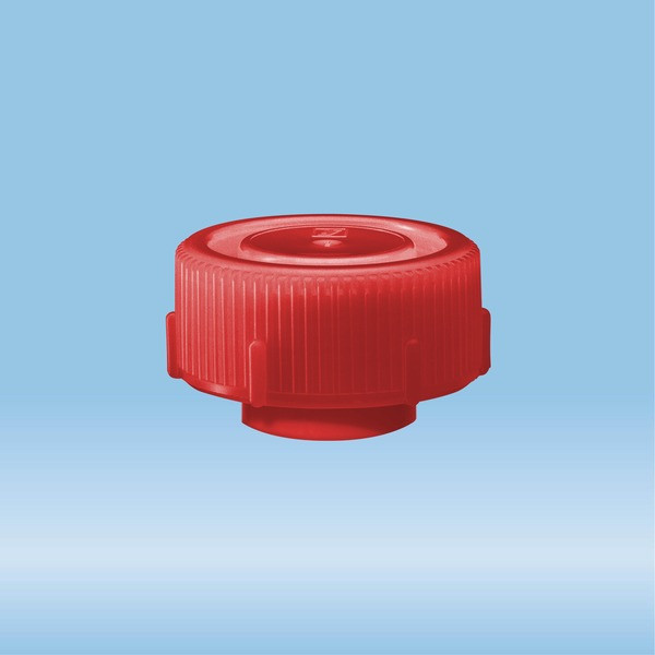 Screw cap, red, suitable for protective container 126 x 30 mm