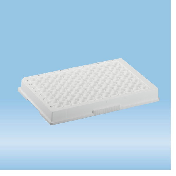 ELISA plate, 96 well, flat base, PS, white, Medium Binding