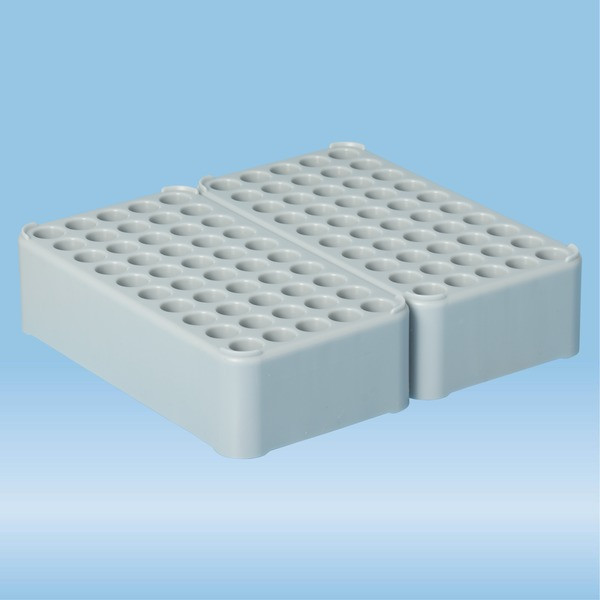 Double block rack D13, Ø opening: 13 mm, 10 x 10, grey, connected lengthwise