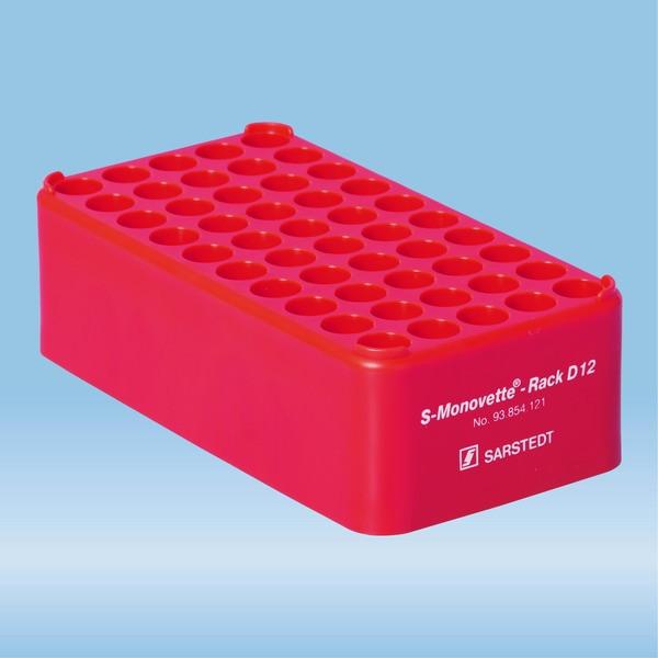 S-Monovette® rack D12, Ø opening: 12 mm, 10 x 5, red