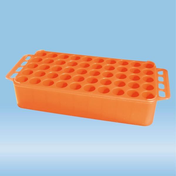 S-Monovette® rack D17, Ø opening: 17 mm, 10 x 5, orange, with handle