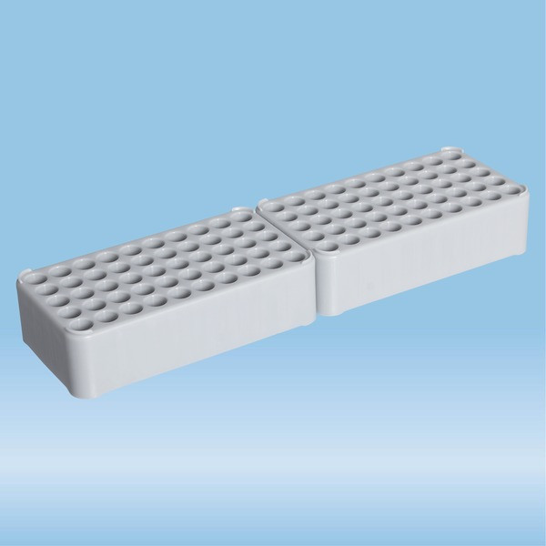 Double block rack D13, Ø opening: 13 mm, 10 x 10, grey, connected at head end