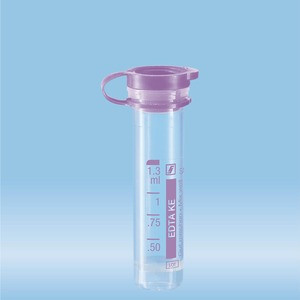 Micro sample tube, K3 EDTA, 1.3 ml, Push cap, ISO