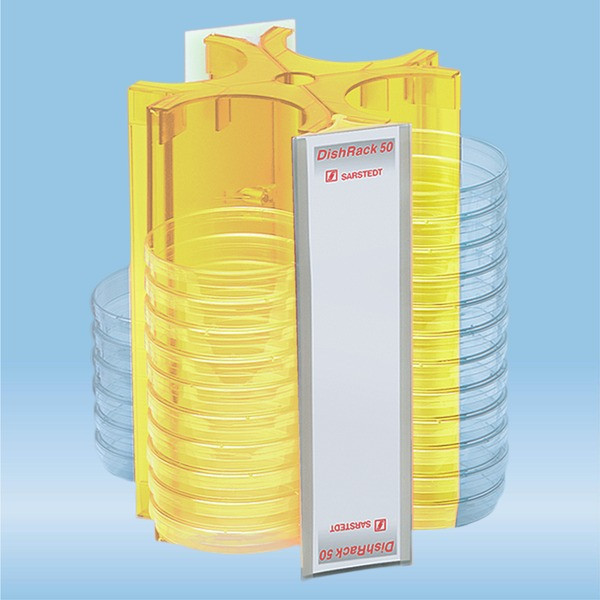 DishRack, height: 240 mm, yellow, for 52 petri dishes with 92mm Ø