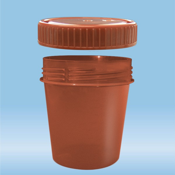 Container with screw cap, 100 ml, (ØxH): 57 x 76 mm, with light protection, PP, brown