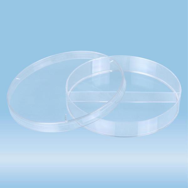 Petri dish, 92 x 16 mm, transparent, 2 compartments, with ventilation cams