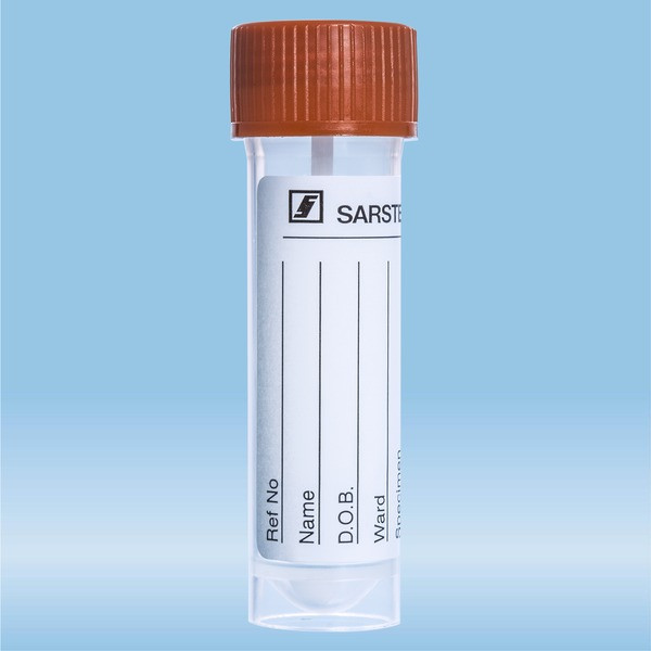 Faeces tube, Screw cap, (LxØ): 76 x 20 mm, transparent, sterile