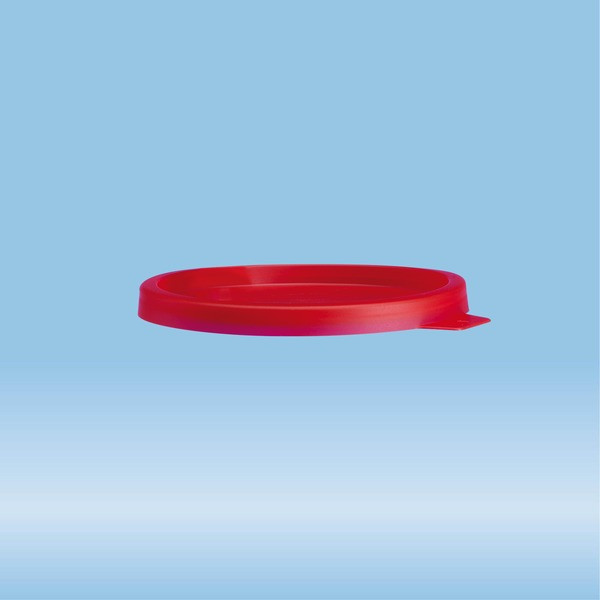 Snap-on lid, without spout, PE, red, 1,000 piece(s)/bag