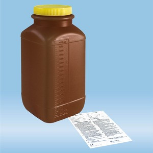 Urine container, 2 l, brown, with light protection, graduated