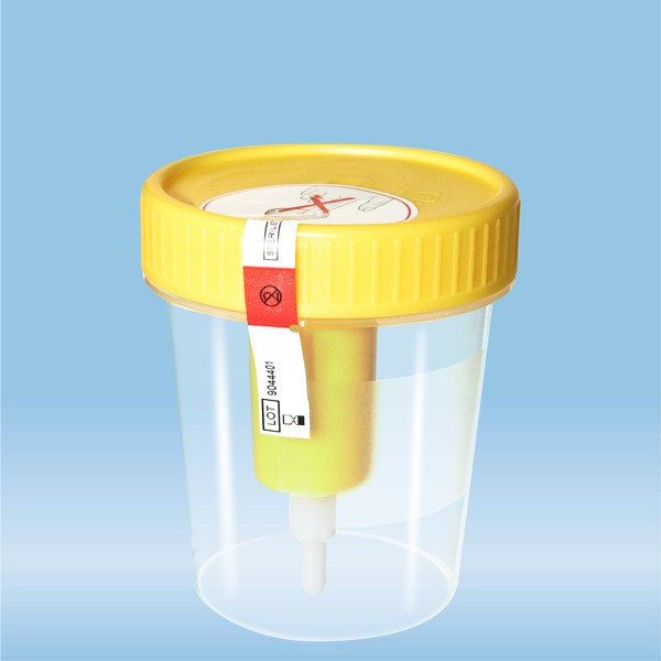 Container with screw cap, 100 ml, PP, with safety label and transfer device