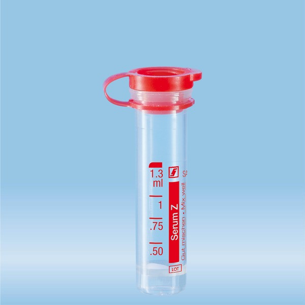 Micro sample tube, Serum, 1.3 ml, push cap, ISO