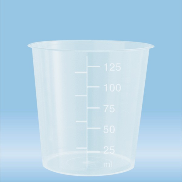 Urine container, 125 ml, (ØxH): 66 x 67 mm, PP, highly transparent