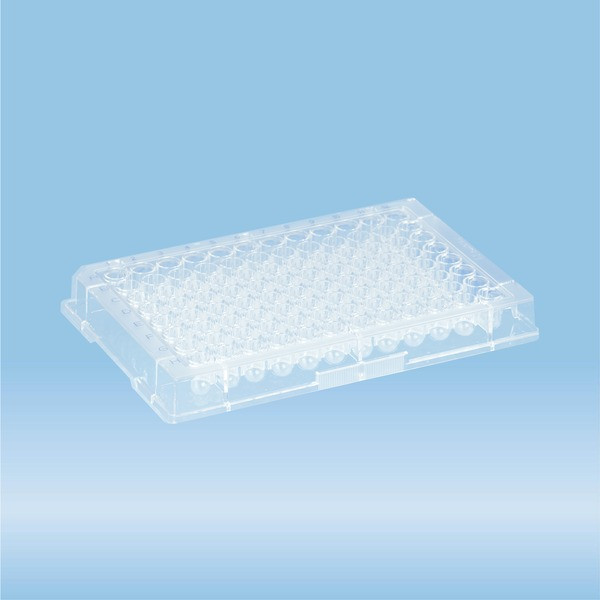 ELISA plate, 96 well, round base, PS, transparent