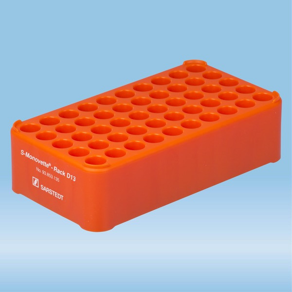 S-Monovette® rack D13, Ø opening: 13 mm, 10 x 5, orange