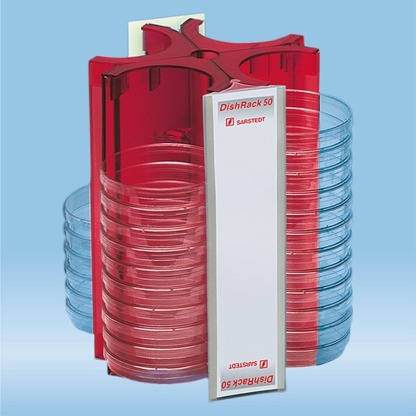 DishRack, height: 240 mm, red, for 52 petri dishes with 92mm Ø